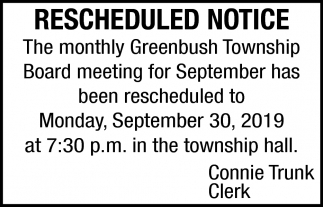 Rescheduled Notice