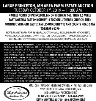 Large Princeton, MN Area Farm Estate Auction