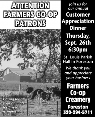 Attention Farmers Co-Op Patrons
