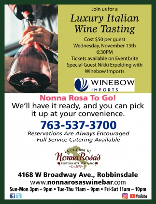 Join Us for a Luxury Italian Wine Tasting