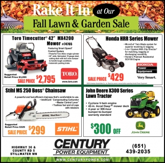 Rake it in at Our Fall Lawn & Garden Sale
