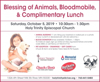 Blessing of Animals, Bloodmobile, & Complimentary Lunch