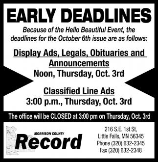 Early Deadlines