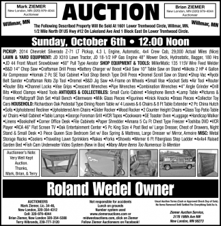 Auction Sunday, October 6th