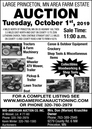 Large Princeton, MN Area Farm Estate Auction