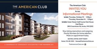 The American Club Invites You to Our Informational Meetings