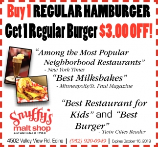 Buy 1 Regular Hamburger and Get 1 Regular Burger $3.00 OFF!