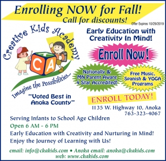 Enrolling Now for Fall