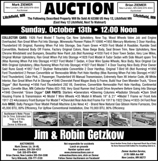 Auction Sunday, October 13th