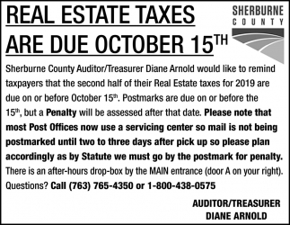 Real Estate Taxes are Due October 15th