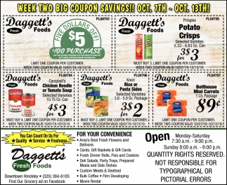 Week Two Big Coupon Savings!