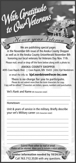 With Gratitude to Our Veterans