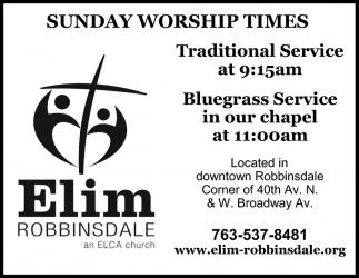 Sunday Worship Times