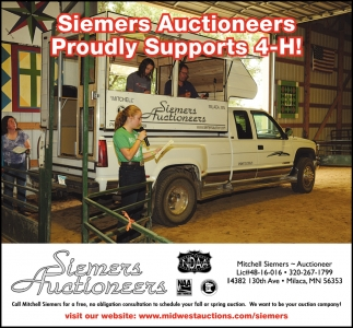 Siemers Auctioneers Proudly Supports 4-H!