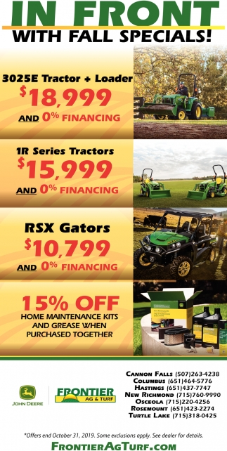 In Front with Fall Specials!
