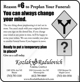 Reason #6 to Preplan Your Funeral