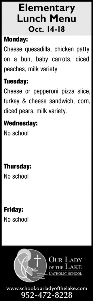 Elementary Lunch Menu