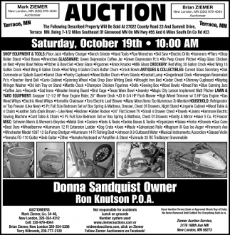 Auction Saturday, October 18th