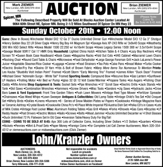 Auction Sunday October 20th