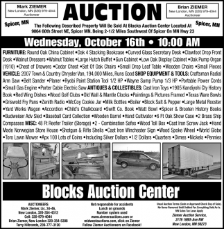 Auction Wednesday, October 16th