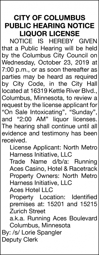 Public Hearing Notice Liquor License