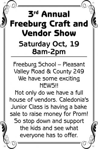 3rd Annual Freeburg Craft & Vendor Show