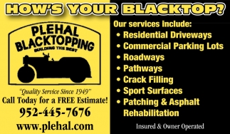 Plehal Blacktopping is a Full-service Asphalt Contractor