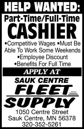 Part-Time/ Full-Time Cashier