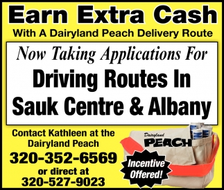 Now Taking Applications for Driving Routes in Sauk Centre & Albany