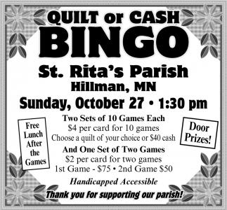 Quilt or Cash Bingo