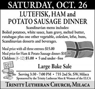 Lutefisk, Ham & Potato Sausage Dinner