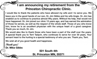 I am Announcing my Retirement from the Princeton Chiropractic Clinic