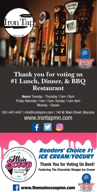 Thank You for Voting Us #1 Lunch, Dinner & BBQ Restaurant