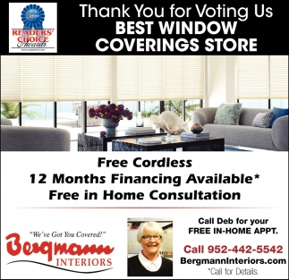 Thank You for Voting Us Best Window Covering Store