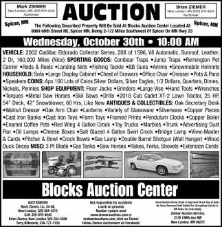 Auction Wednesday, October 30th