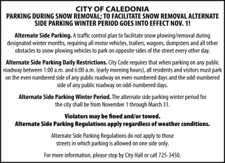 Parking During Snow Removal