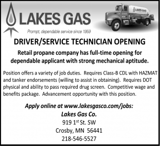 Driver/ Service Technician Opening