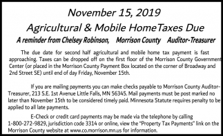 Agricultural & Mobile Home Taxes Dues
