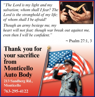 Thank You for your Sacrifice from Monticello Auto Body