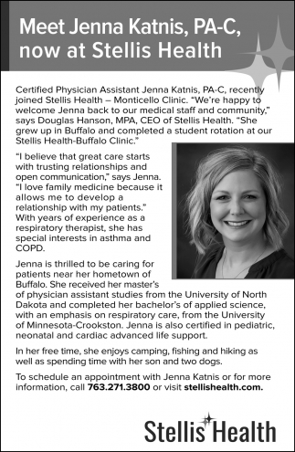 Meet Jenna Katnis, PA-C, Now at Stellis Health