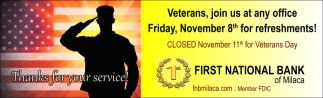 Veterans, Join Us at Any Office Friday, November 8th for Refreshments!