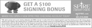 Get a $100 Signing Bonus