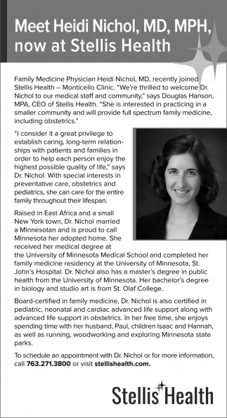Meet Heidi Nichol, MD, MPH, Now at Stellis Health