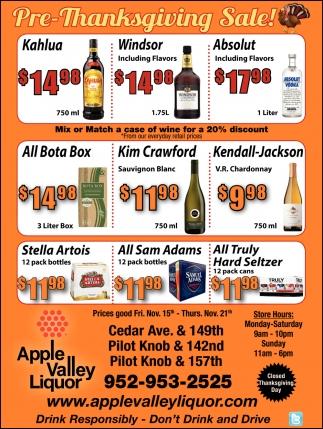Pre-Thanksgiving Sale!