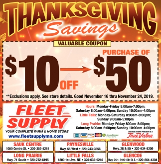 Thanksgiving Savings