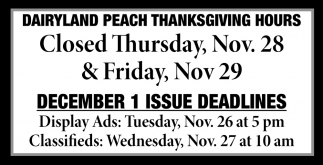 Dairyland Peach Thanksgiving Hours