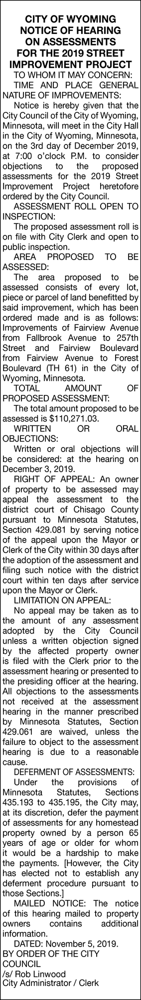 Notice of Hearing