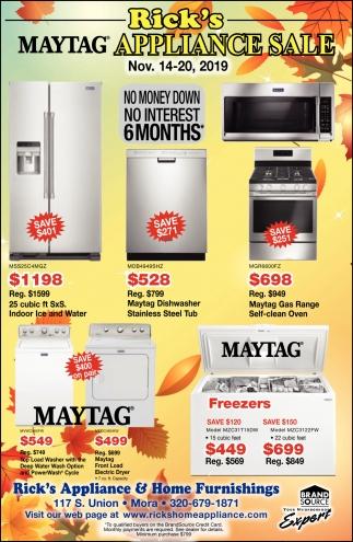 Rick's Maytag Appliance Sale