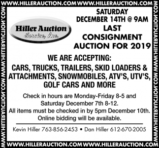 Consignment Auction for 2019