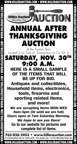 Annual After Thanksgiving Auction
